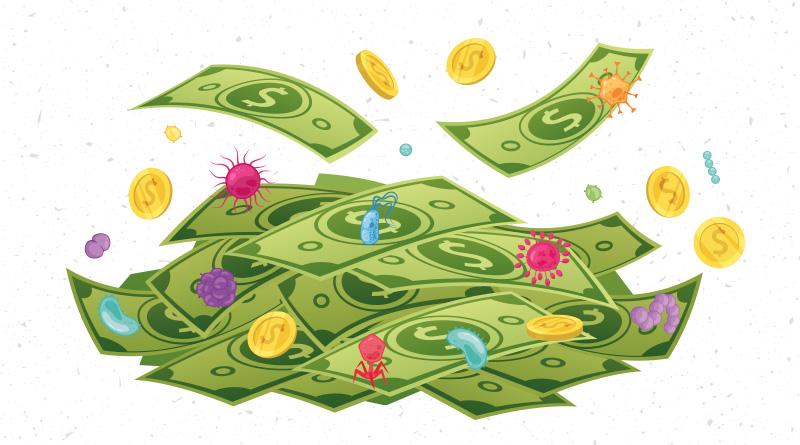 ¿Qué tan sucio es el dinero en efectivo?